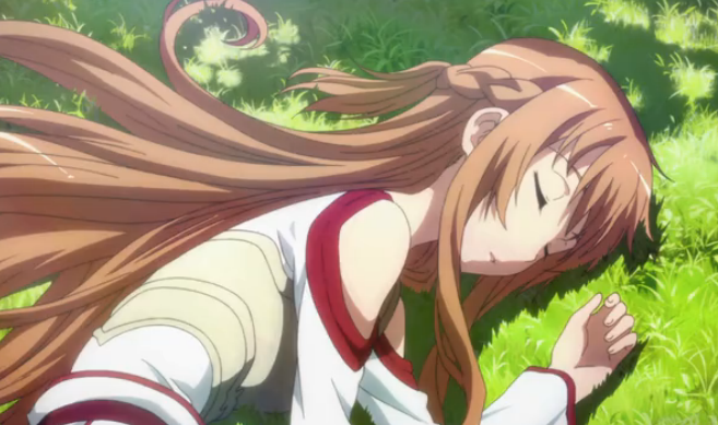 Sword Art Online episode 5 Asuna Sleeping