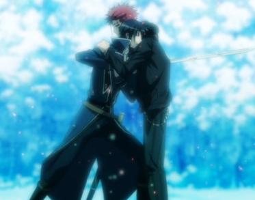 K episode 13 Suoh hugs Munakata