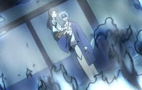 Kamisama Hajimemashita Tomoe saves Nanami