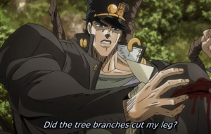 Jojo's Bizarre Adventure Episode 28 Jotaro Cut Leg